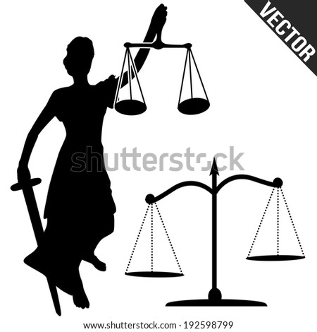 Justice statue and scale on white background, vector illustration - stock vector
