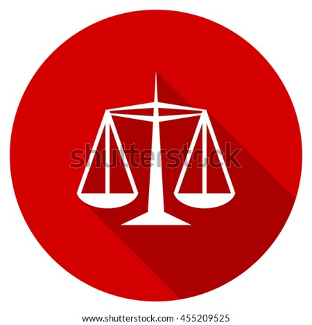 justice vector icon, red modern flat design web element - stock vector