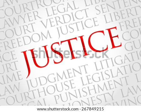 Justice word cloud concept - stock vector