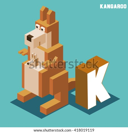 K for kangaroo, Animal Alphabet collection. vector illustration - stock vector