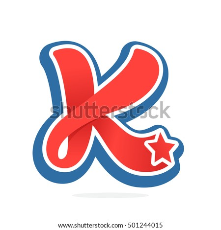 K Letter In Style letter logo with star in vintage baseball style. Sport elements for ...
