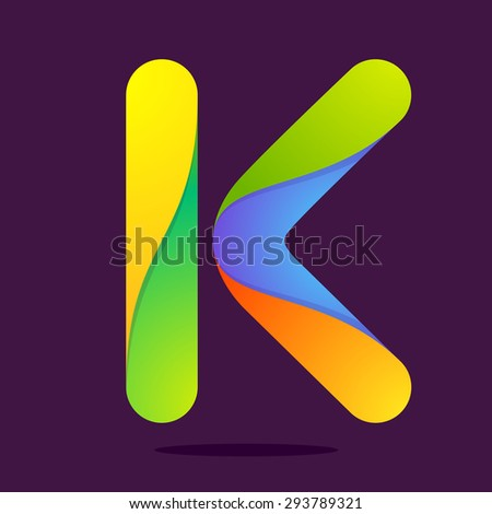 K letter one line colorful logo. Vector design template elements an icon for your application or company - stock vector