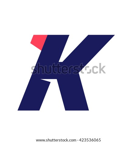 K letter run logo design template. Vector sport style typeface for sportswear, sports club, app icon, corporate identity, labels or posters. - stock vector