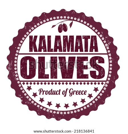 Kalamata olives grunge rubber stamp on white background, vector illustration - stock vector
