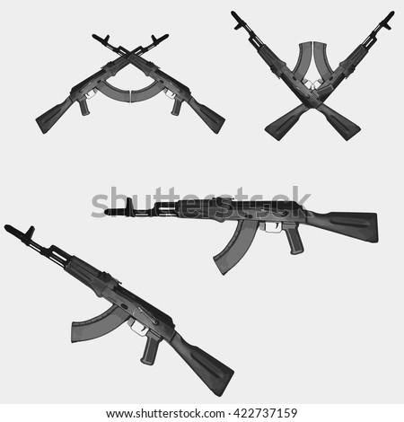 Kalashnikov assault rifle.  - stock vector