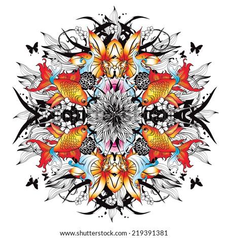 Kaleidoscopic graphics with goldfish - stock vector