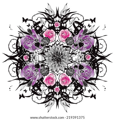 Kaleidoscopic graphics with violet roses - stock vector