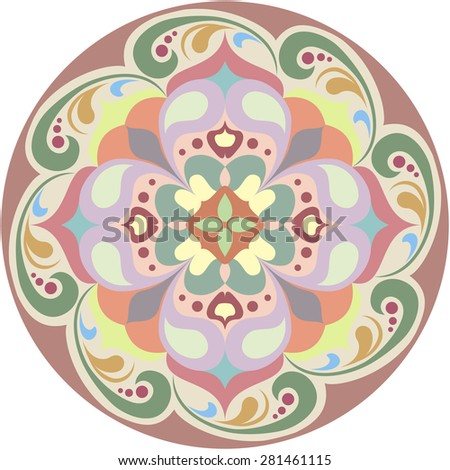 Kaleidoscopic round floral tattoo. Mandala in color - stock vector