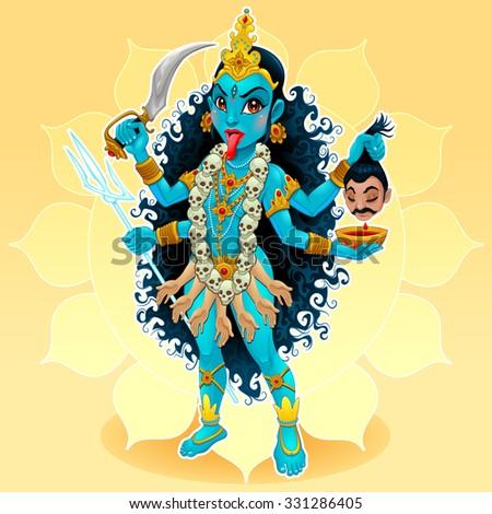 Kali goddess. Funny representation of eastern god, vector cartoon illustration. - stock vector