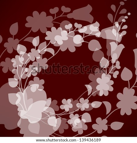Kalocsai pattern on red - stock vector