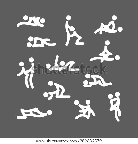 kamasutra poses white and blue icons. grey background - stock vector