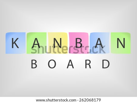 Kanban board title with colorful post-it notes as concept of a modern project management methodology