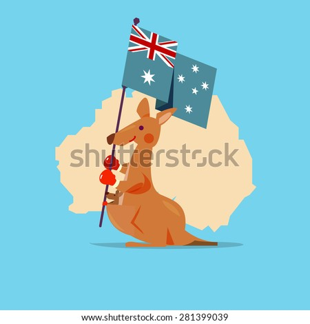 Kangaroo and baby handle Australia flag with map in background. character design. National Animal - concept - vector illustration - stock vector