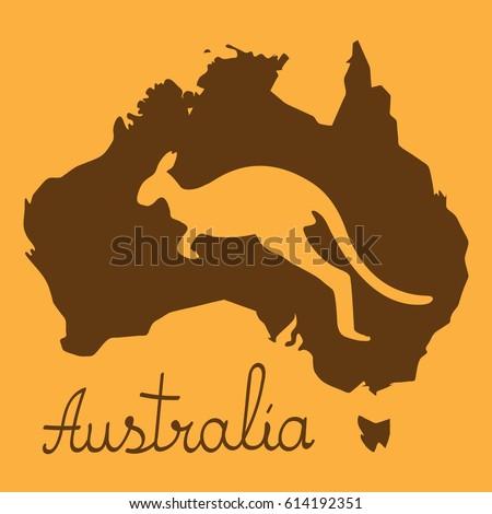 Stylized Map Australia Kangaroo Southern Cross Stock Vector - Australia map kangaroo