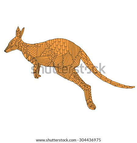 Kangaroo jump. Hand drawn vector illustration. Good for T-shirt, bag or whatever print. Vector illustration