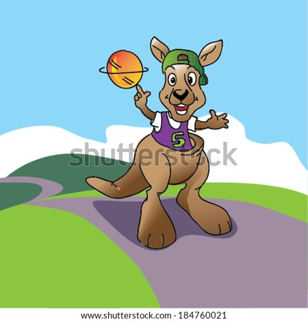 kangaroo jumping holding a ball on the hand