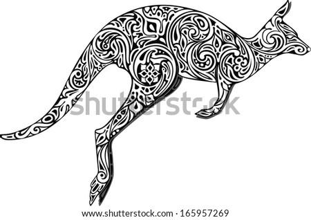 Kangaroo monochrome I - stock vector