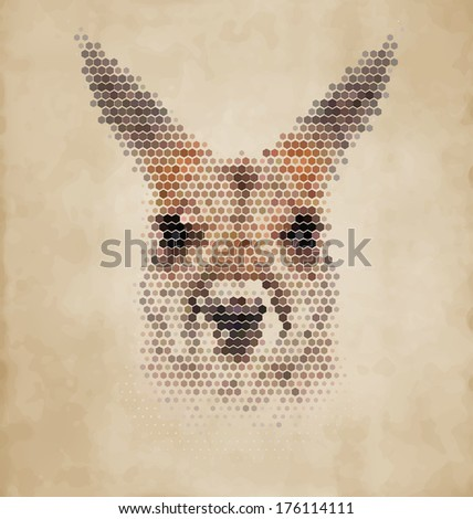 Kangaroo portrait made of geometrical shapes - Vintage Design - stock vector