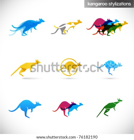 kangaroo stylized illustrations - various creative abstract signs of australian animal - stock vector