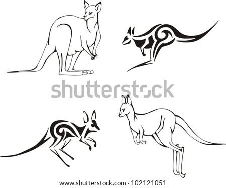 Kangaroos. Vector Set - stock vector