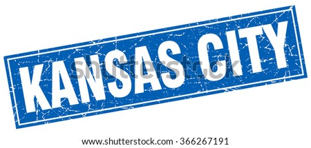 Kansas City blue square grunge vintage isolated stamp - stock vector
