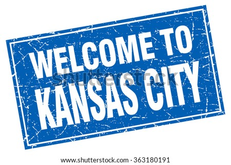 Kansas City blue square grunge welcome to stamp - stock vector