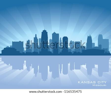 Kansas city, Missouri skyline with reflection in water - stock vector