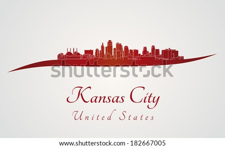 Kansas City skyline in red and gray background in editable vector file - stock vector