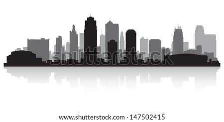 Kansas city USA skyline silhouette vector illustration - stock vector