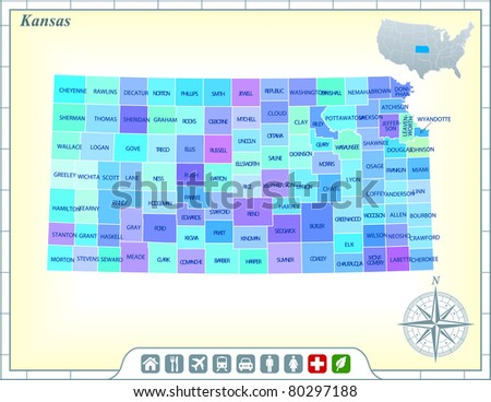 Kansas State Map with Community Assistance and Activates Icons Original Illustration - stock vector