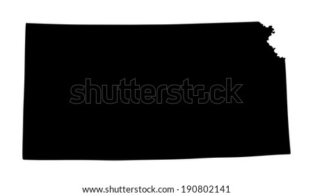 Kansas vector map isolated on white background. Silhouette illustration.