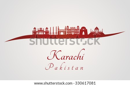 Karachi skyline in red and gray background in editable vector file - stock vector