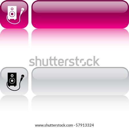 Karaoke glossy square web buttons. - stock vector