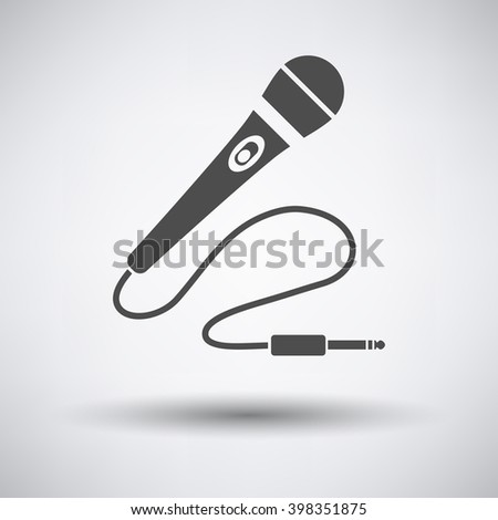 Karaoke microphone  icon on gray background with round shadow. Vector illustration. - stock vector