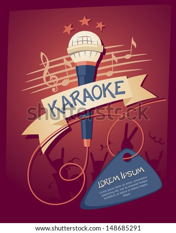 Karaoke night club. Vector illustration on a musical theme party - stock vector
