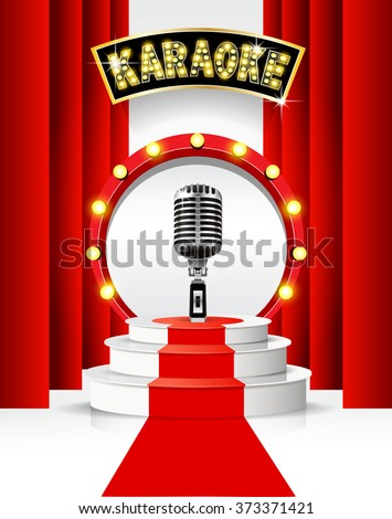Karaoke party background with podium and microphone. - stock vector