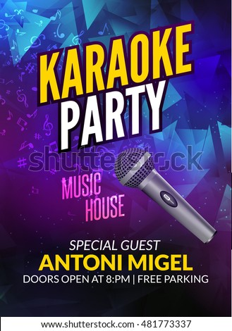Karaoke Party Invitation Poster Design Template Stock Photo Photo