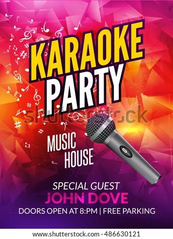 Karaoke party invitation poster design template. Karaoke vocal night flyer design. Music broadcast voice