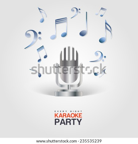 Karaoke Party poster with microphone and musical notes - stock vector