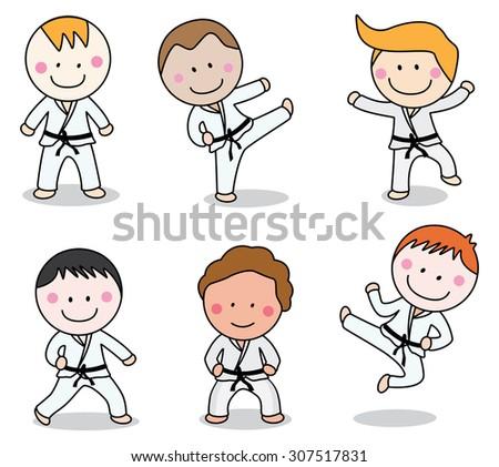 Karate boy - stock vector