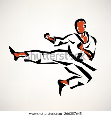 karate fighter stylized symbol, outlined sketch - stock vector