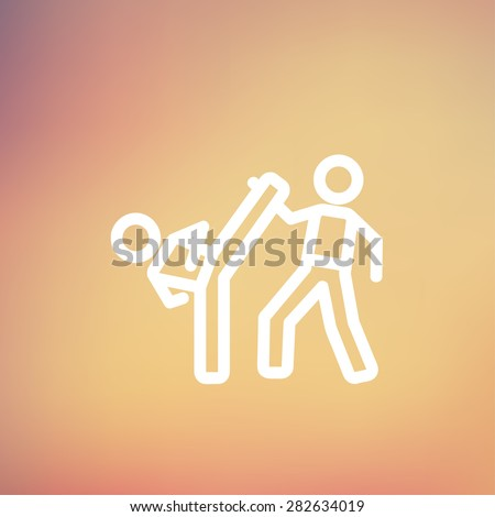 Karate fighters icon thin line for web and mobile, modern minimalistic flat design. Vector white icon on gradient mesh background. - stock vector