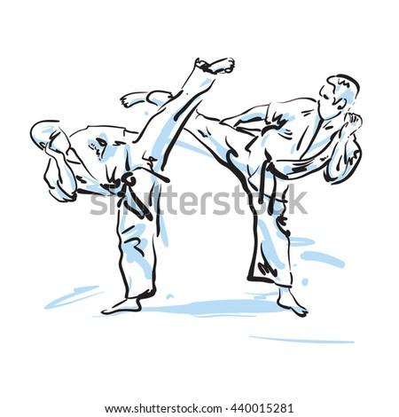karate fighters, vector illustration - stock vector