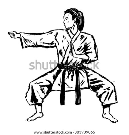 karate girl sketch - vector - stock vector
