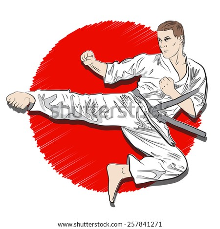 karate kick  - stock vector