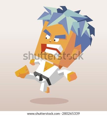 karate kick with black belt.vector illustration - stock vector