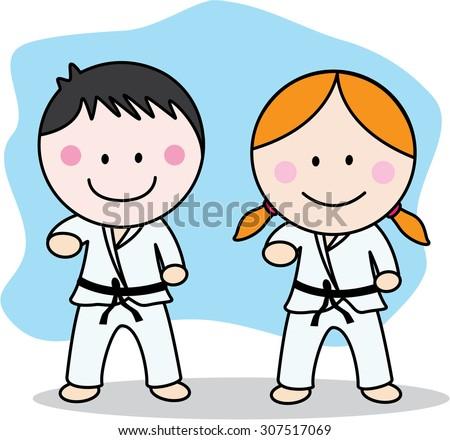 Karate kids - stock vector
