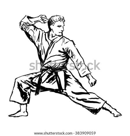 karate man sketch - vector - stock vector