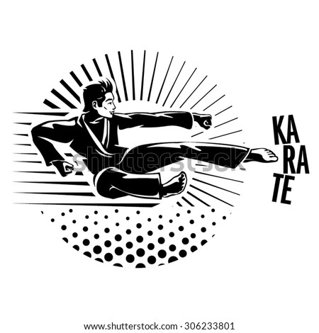 Karate martial art silhouette of man. Vector illustration in the engraving style. - stock vector