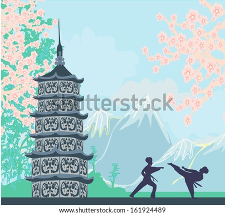 karate occupations - Chinese landscape,abstract ancient buildings  - stock vector